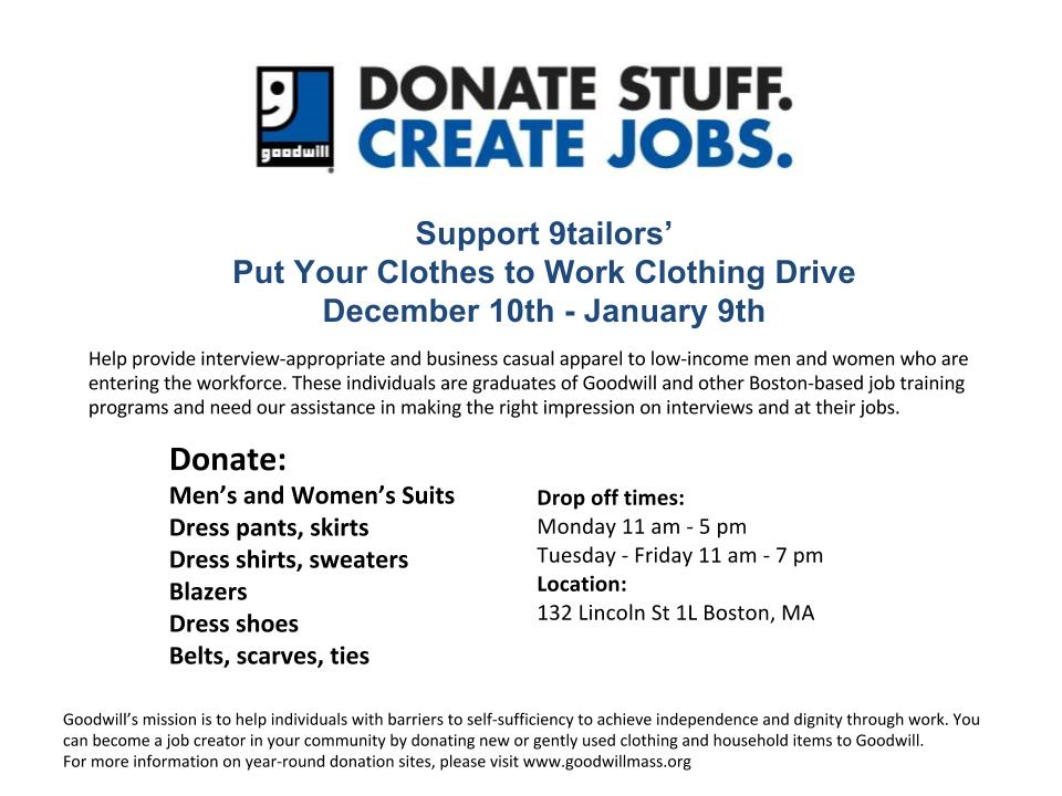 9tailors clothing drive donation information